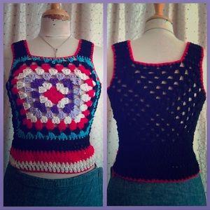 🔷🧶 VINTAGE crochet granny-square Sweater Vest
